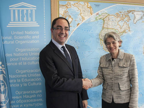 Jean-Luc Martinez et Irina Bokova en mars 2015 © UNESCO/P. Chiang-Joo